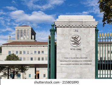GENEVA, SWITZERLAND - SEPTEMBER 7, 2014: The World Trade Organization. The WTO deals with the global rules of trade and is hosting new negotiations under the Doha Development Agenda.