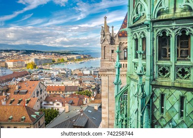 Geneva and Tower of Cathedral of Saint-Pierre, Switzerland