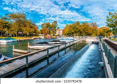Geneva, USA - September 30, 2019 : White River view in Geneva Town of Wisconsin