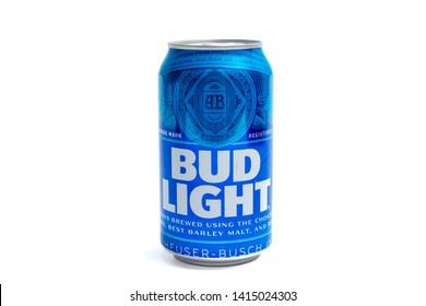 Geneva/Switzerland – 03.03.2019 :   Bud Light american beer blue can