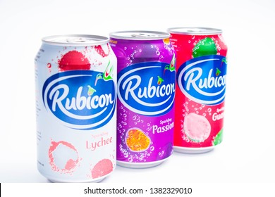 Geneva/Switzerland – 03.03.2019 :   Rubicon fruit juice can passion lychee guava