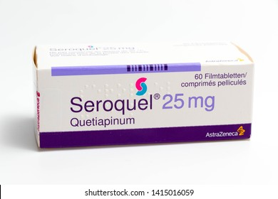 Geneva/Switzerland – 03.03.2019 :   Seroquel pills anxiolytic anti-depressant medication therapy drugs