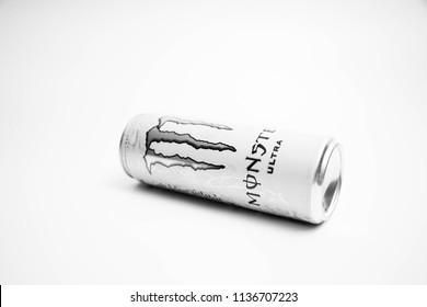 geneva/Switzerland -16.08.18 : Can of Monster Ultra energy drink sugar free