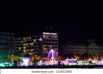 Geneva/Switzerland- 18.07.18 : Hotel president wilson in Geneva at night during funfair of geneva