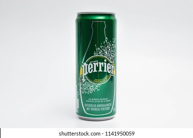 Geneva/Switzerland -24.07.18 : Can of Fizzy Water Perrier france