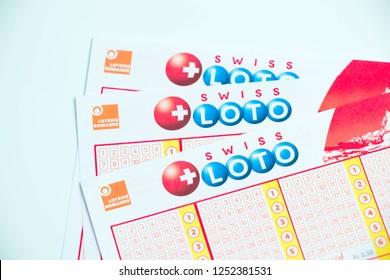 Geneva/switzerland-09.12.18 : Swiss loto ticket sheet paper lottery game money