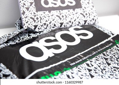 Geneva/Switzerland-10.08.18: Asos online shopping clothes package logo