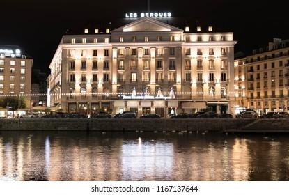 Geneva/Switzerland-28.08.18 : Four Seasons Hotel les Bergues night light