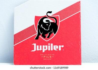 Geneva/Switzerland-28.08.18 : Jupiler beer coaster protection cardboard belgium
