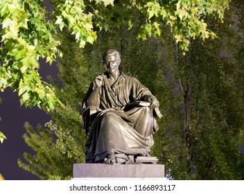 Geneva/switzerland-29.08.18 : Statue of jean jacques rousseau phylosopher