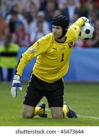 GENEVE - JUNE 11: Petr Cech goalkeeper of Czech Republic Football National Team during the match Czech Republic - Portugal 1:3 Euro2008 Group A June 11, 2008, Stade de Geneve, Geneve, Switzerland