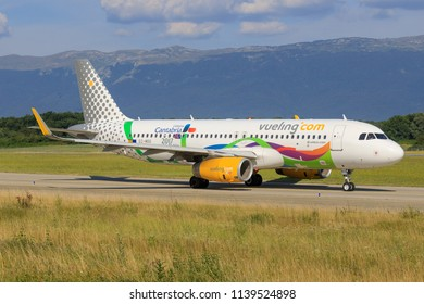 Genf/Switzerland June 20, 2018: Airbus A320 from Vueling Liebana Cantabria at Genf Airport.