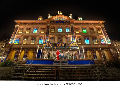 GENGENBACH, GERMANY - DECEMBER 09, 2014: The Advent Calendar at Gengenbach Town Hall with each day displayed in a window of the town hall is done each year for Christmas.