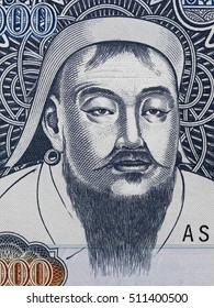 Genghis Khan portrait on Mongolia 1000 Tugrik banknote closeup macro. Founder and Great Khan (Emperor) of the Mongol Empire