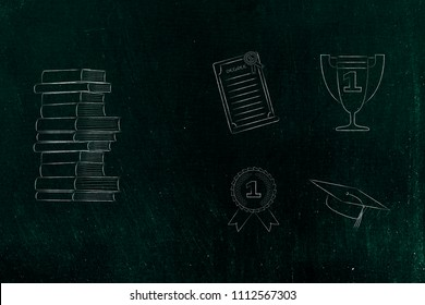 genius mind conceptual illustration: pile of books next to group of education accomplishment icons from degree to trophy and from 1st place winner medal to graduation cap