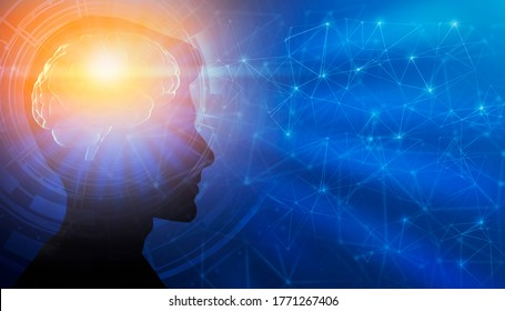 Genius Mindset. Profile Male Portrait With Illuminated Brain Having Enlightment Eureka Moment Over Blue Background. Panorama, Collage, Free Space