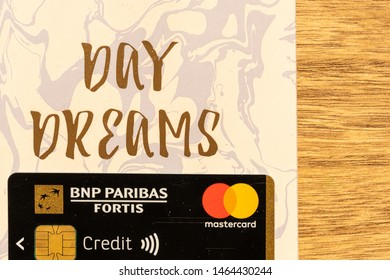 Genk/ Belgium- July 29, 2019: European Master cards with wireless payment.