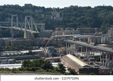 Genoa, 15 August 2018: great tragedy, the Morandi bridge that connected the Ligurian Riviera of the Levant with that of the West, collapsed on 14 August 2018.