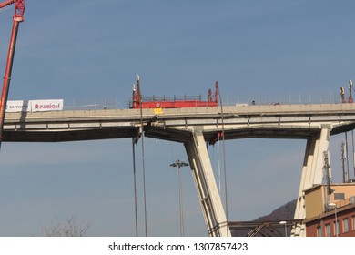 Genoa 8 February 2019: Preparation work for the demolition of the Morandi bridge.This is about to demolish the first piece of the west section through hydraulic jacks called Strand Jack with a capacit
