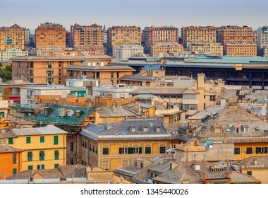 Genoa. Aerial view of the city at blue hour.