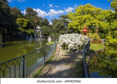 GENOA, (GENOVA), APRIL 28, 2017 - Diana Temple in Villa Durazzo- Pallavicini in Genoa Pegli, Italy