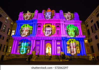 GENOA (GENOVA), ITALY, DECEMBER 28, 2016 - Palazzo Ducale, show dedicated to Andy Warhol event exposure. The projection represents the face of Marilyn Monroe who became a friend of the artist