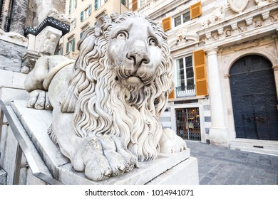 GENOA (GENOVA), ITALY, January 11, 2018 Statue of lion outside the church or cathedral the place is famous in the city center in Genoa Italy, Cattedrale di San Lorenzo