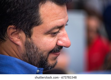 GENOA (GENOVA), ITALY, JUNE 23, 2017 - Matteo Salvini, the secretary of the Northern League party during the election campaign for the mayor of Genova, Italy