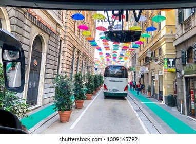Genoa, Genova, Italy - June 3 2018: City tour  bus for tourists and visitors