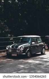 GENOA (GENOVA), ITALY - MAY 30, 2018: A vintage Austin Cooper Mini sits parked on street of the Italian city. The mini car is a uniquely British design icon