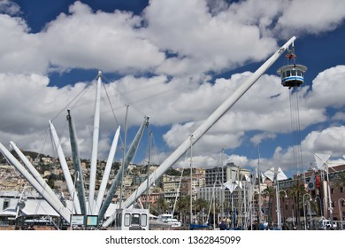 Genoa. Italy. 04.05.2019. The BIGO, panoramic lift. The  BIGO, panoramic elevator structure has become one of the symbols of the city of Genoa, designed by Renzo Piano.