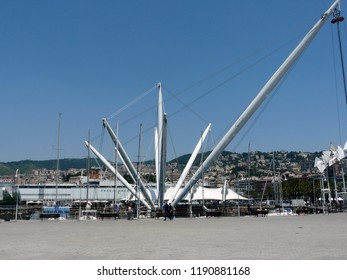 Genoa / Italy - 06.09.2014: The Bigo is an architectural structure present in the ancient port of Genoa. The Bigo has a panoramic lift that rises up to 40 m in height and rotates 360 degrees.