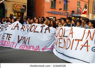 "GENOA, ITALY, 12 OCTOBER - national student demonstrations and strikes against the government "" Monti""  cuts to the school culture and health Genoa, Italy, Oct 12 2012"