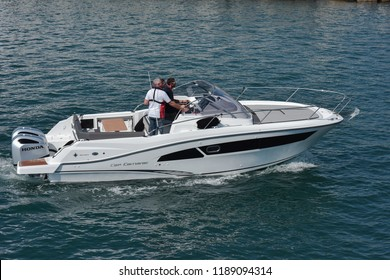 Genoa Italy, 20 September 2018: The new outboard Cap Camarat 9.0 WA  of shipyard JEANNEAU, a sports boat,  it is navigating for one sea test with potential customers
