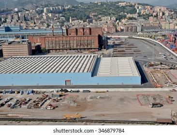 GENOA, ITALY - APRIL 2011: Aerial view of the industrial zone of the steel mills of ILVA Cornigliano in Genoa.