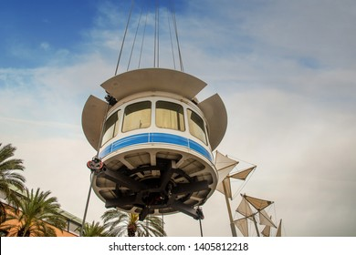 Genoa / Italy - April 23 2019: Low angle view of the panoramic lift Bigo (1992) by Genoese architect Renzo Piano, 40 meters above the sea, offering a spectacular 360-degree view of the city of Genoa