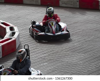 Genoa, Italy - April 6 2019: a Go Kart race