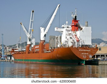 GENOA, ITALY - APRIL 8, 2017: The ship SPAARNEGRACHT, It is a ship general cargo ship built in 2000 which currently sails under the flag of the Netherlands.