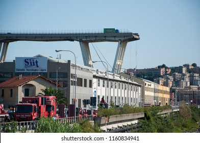 GENOA, ITALY - AUGUST 15, 2018 : collapsed Morandi bridge, and ongoing rescue operations.