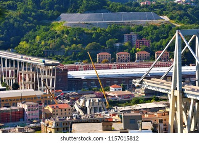 GENOA, ITALY, AUGUST 15 Collapsed Morandi Bridge connects the A10 motorway collapsed due to structural failure  August 15 2018 Genoa Italy