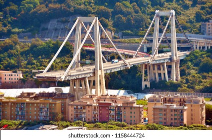 GENOA, ITALY, AUGUST 17 Collapsed Morandi Bridge connects the A10 motorway collapsed due to structural failure  August 17 2018 Genoa Italy