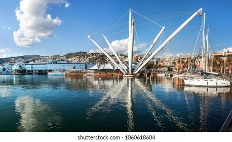 Genoa, Italy - August 19, 2015: The panoramic lift 'Bigo' in the centre of the ancient port area of Genoa, with the historical city on the back ground.