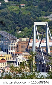 GENOA, ITALY, AUGUST 21 Collapsed Morandi Bridge connects the A10 motorway collapsed due to structural failure  August 21 2018 Genoa Italy