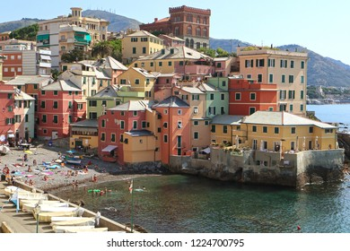 "GENOA, ITALY - AUGUST 28, 2018 Boccadasse is a Genoa quanter and looks like a small fisher village surrounded by a big city. The name means ""donkey mouth"" with reference to the bay shape"