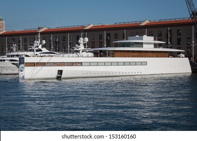 GENOA, ITALY - AUGUST, 28: Steve Jobs' luxury yacht in the port on August 28, 2013 in Genoa. Designed by Philippe Starck it is a 260 feet super yacht featuring state-of-the-art aluminum hull.