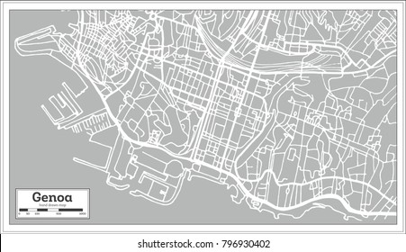 Genoa Italy City Map in Retro Style. Outline Map.