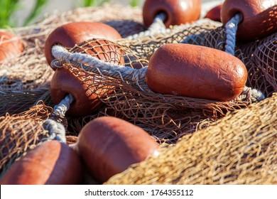 Genoa, Italy -  closeup of stacked fishing nets (detail)