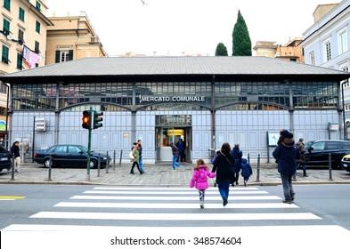 GENOA, ITALY, DECEMBER 7 - building exterior market statuto via Antonio Gramsci December 7 2015 in Genoa Italy