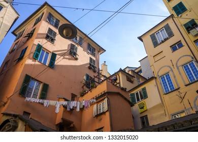 Genoa, Italy - Feb 14th 2019: Via ai Macelli di Soziglia, one of the several  small lanes in the old town
