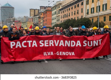 Genoa italy, January 27, 2016: The workers of Ilva, the third day of protest, in procession through the street of the city of Genoa